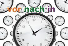 vor nach in nemački predlozi za vreme